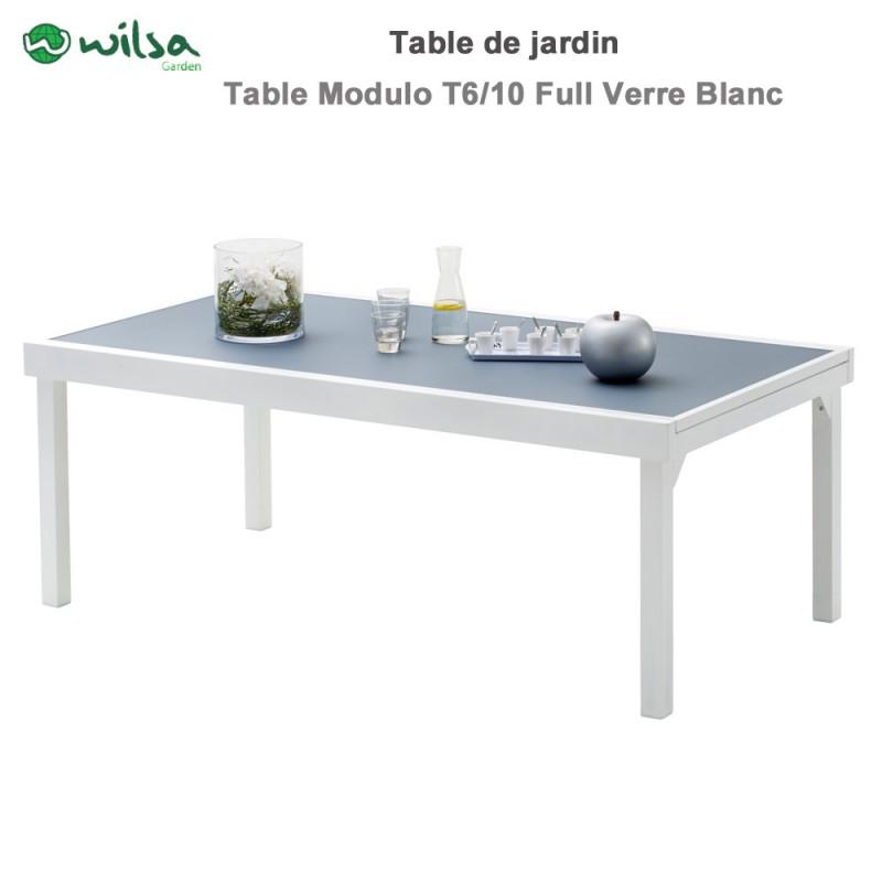 table de jardin modulo 8 12 places blanche gris perle