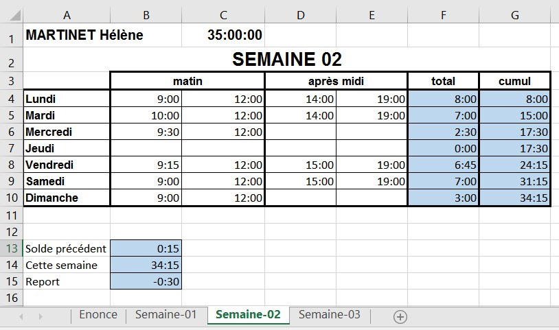 Clic Formation Exercice 3 Calcul Horaires
