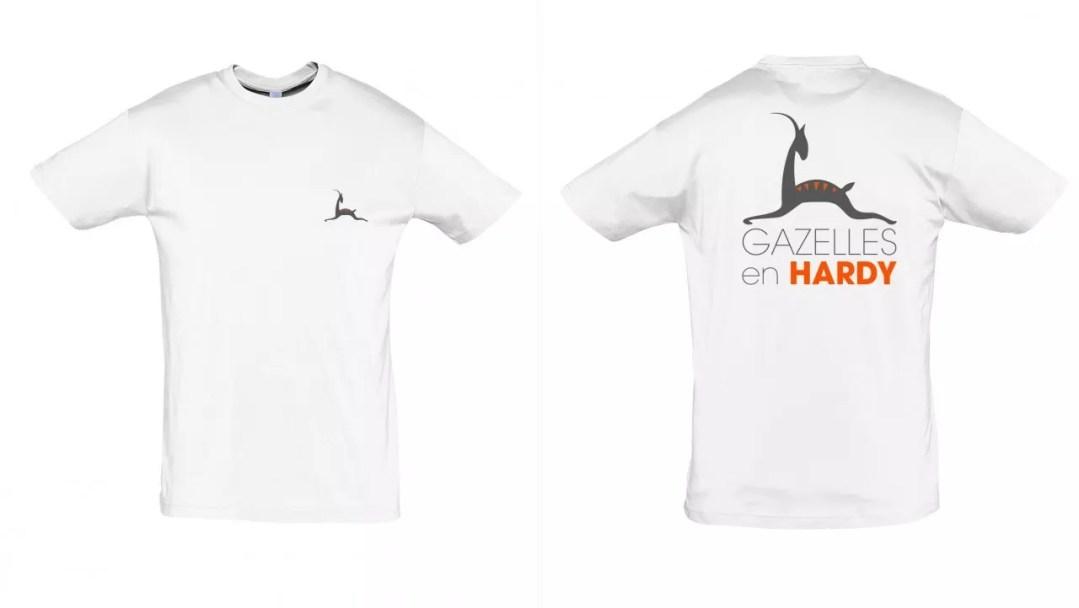 Tee-shirt association Gazelles en Hardy_Blanc Col rond