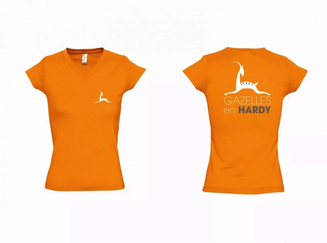 Tee-shirt_Gazelles en Hardy_Orange Femme Col V