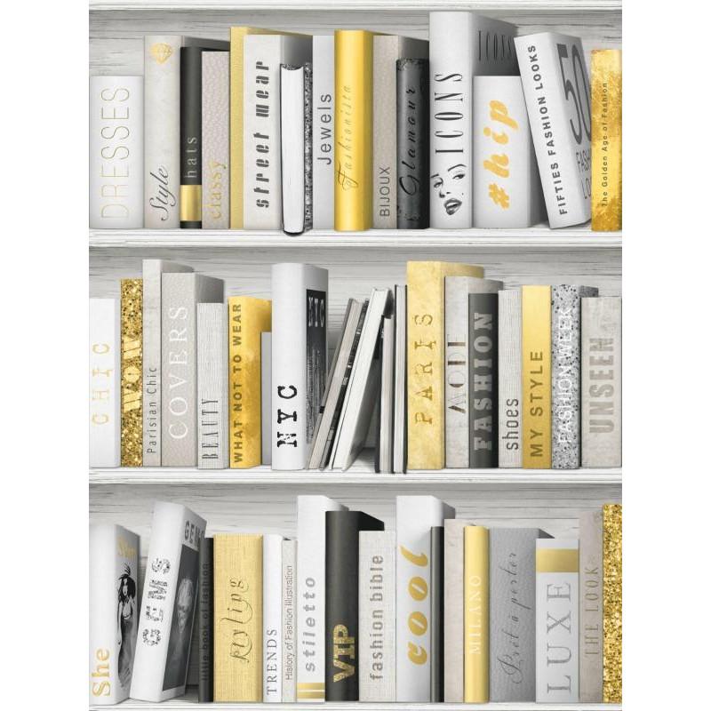 papier peint trompe l oeil imiation bibliotheque ugepa