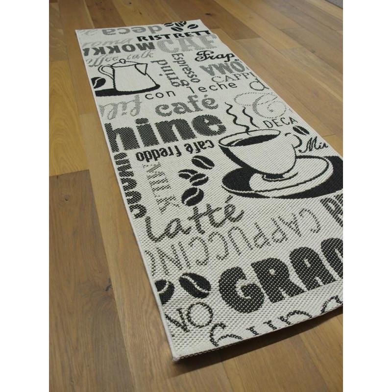 tapis de cuisine tisse a plat cafe noir et blanc essenza 80x200cm balta