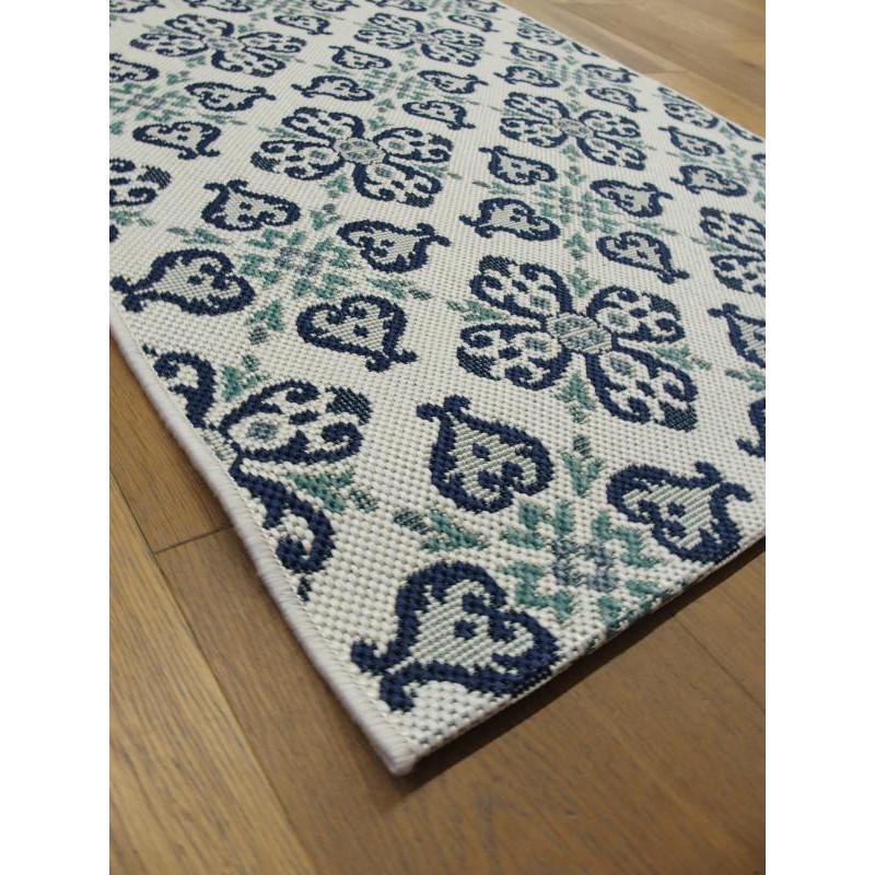 tapis de cuisine long vintage bleu star 80x200cm