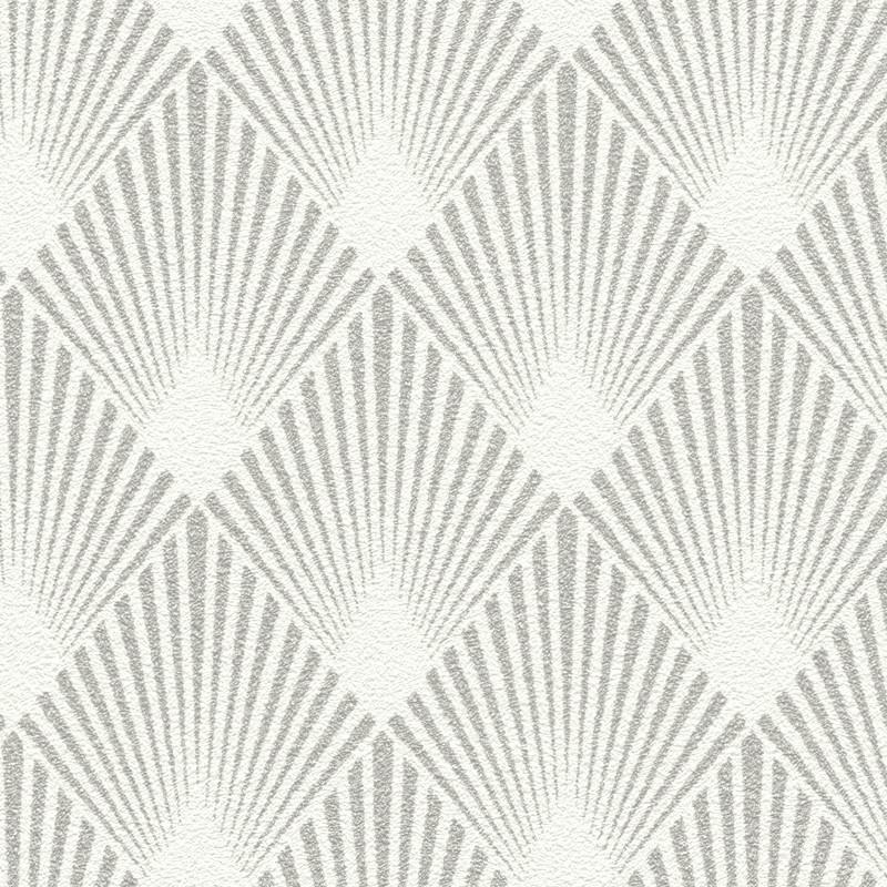 papier peint intisse motif art deco blanc et gris home style rasch