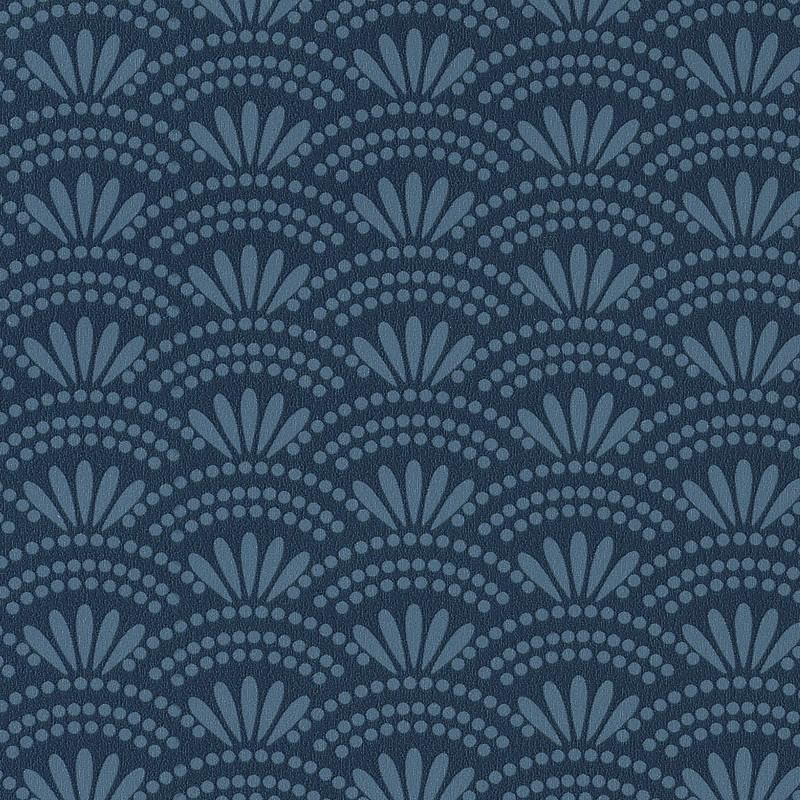 papier peint motif japonais haiku bleu cobalt gris hanami caselio