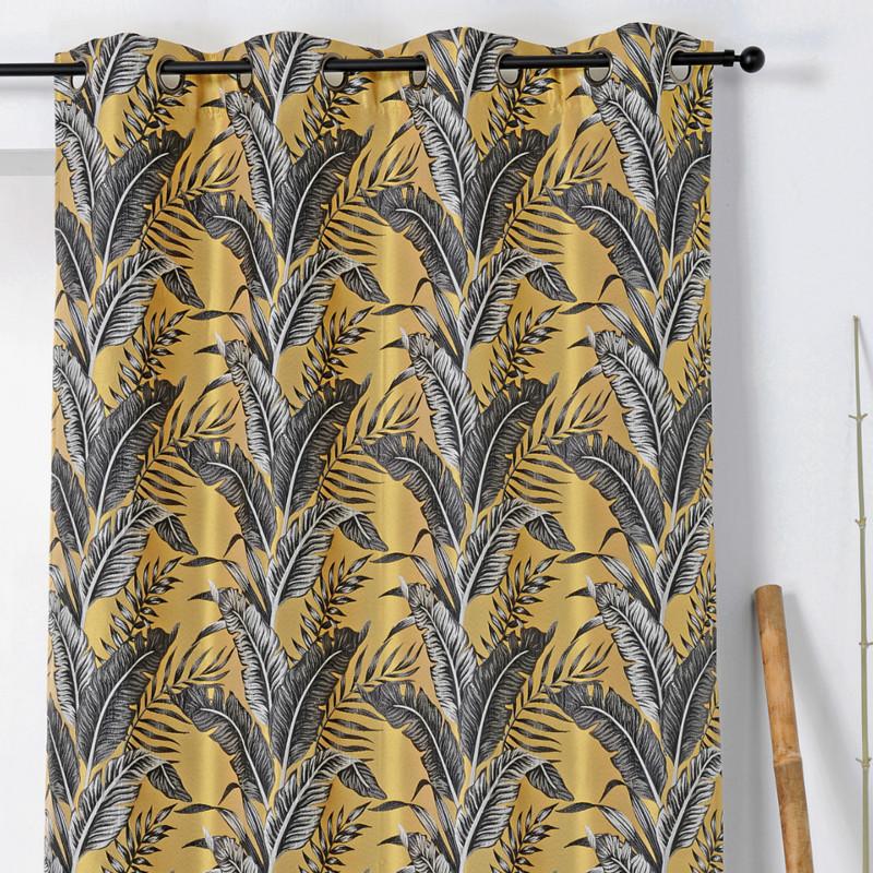 rideau a œillets motif exotique jaune et gris sumatra linder