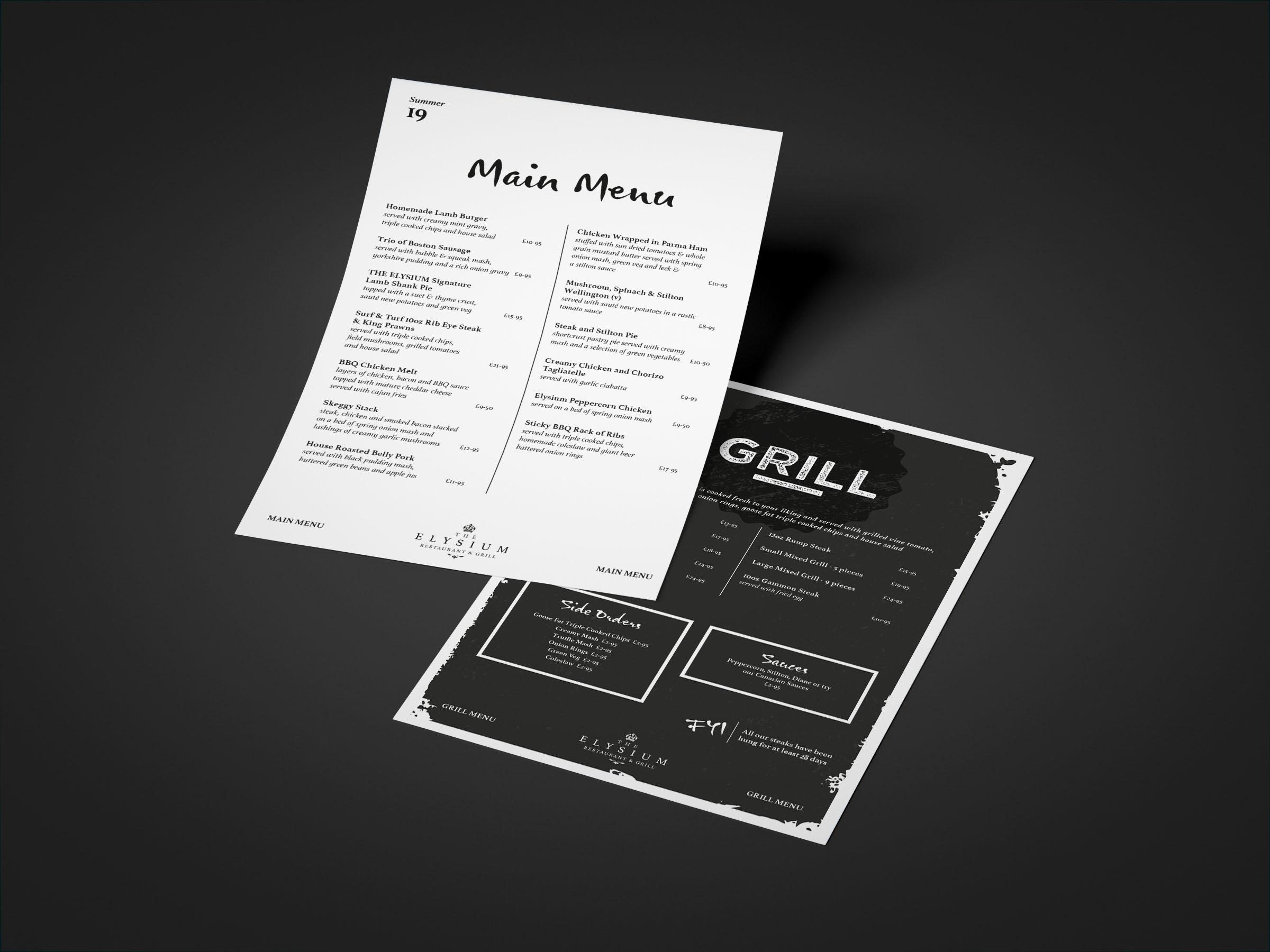 Elysium Menu Design