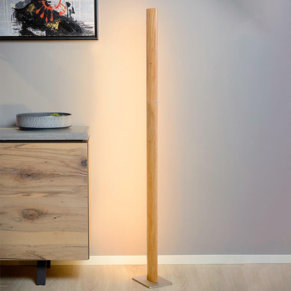 LED Stehleuchte aus hellem Holz dimmbar  Lucide  48750