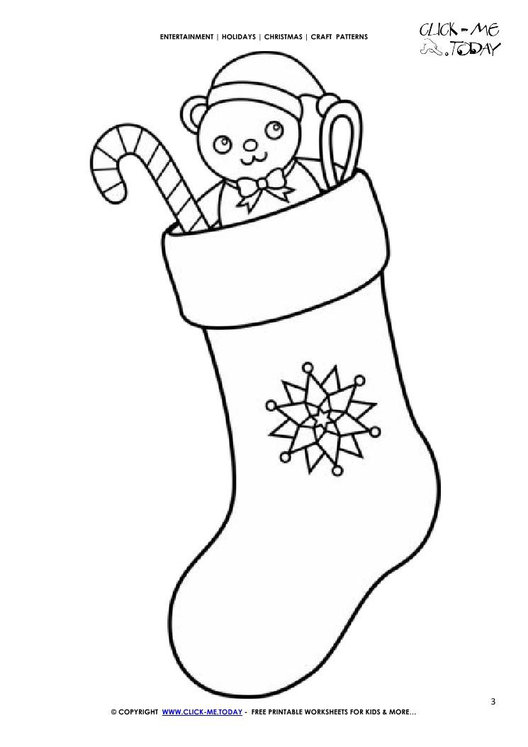 Free printable Christmas Stocking Craft Pattern