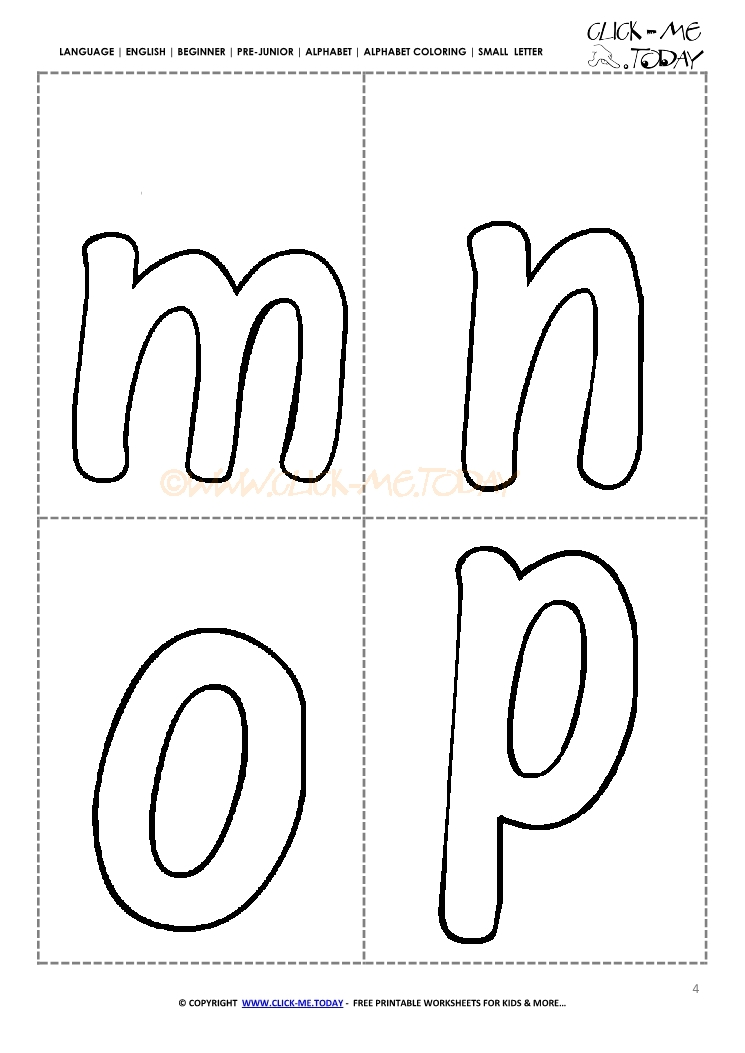 Free Alphabet Small Letters For Kindergarten Mnop