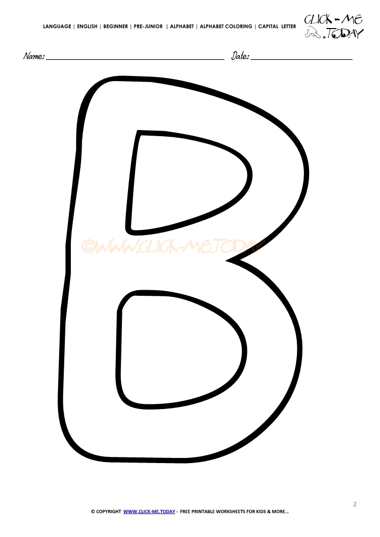 Alphabet capital letter coloring page B
