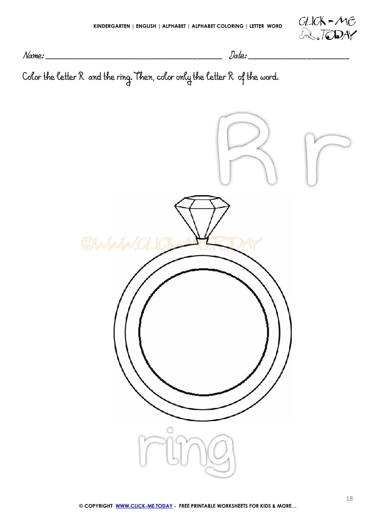 ALPHABET COLORING LETTER-WORD R