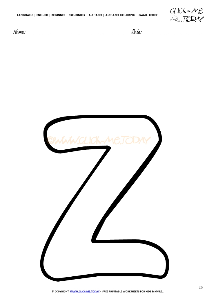 Alphabet small letter coloring page z