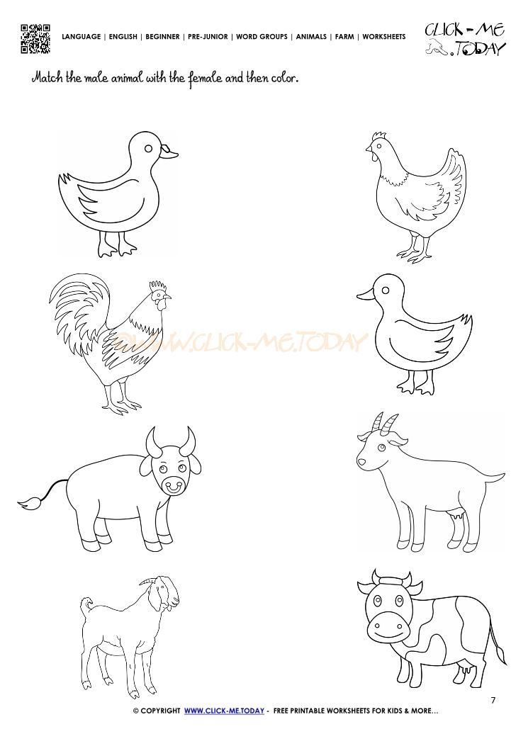 Printable Worksheets » Farm Animals Worksheets For