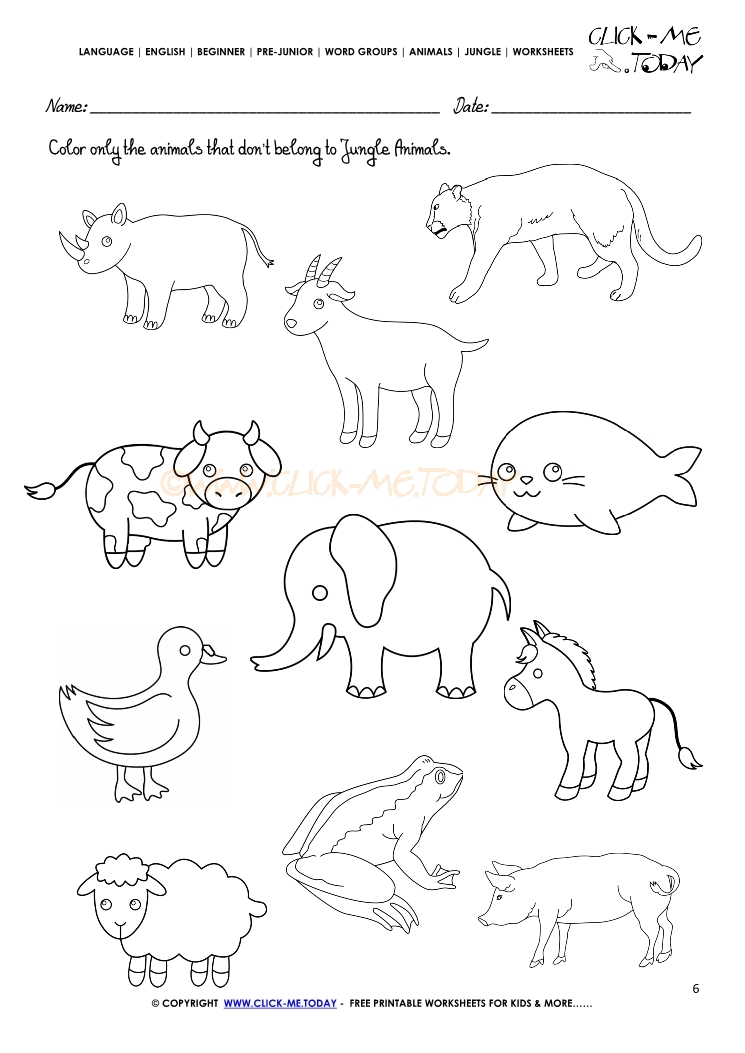 Jungle Animals Free Preschool Worksheets. Jungle. Best