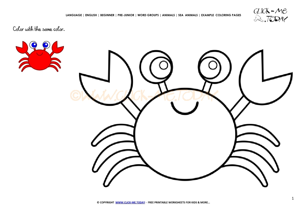 Cute Crab Coloring Coloring Pages