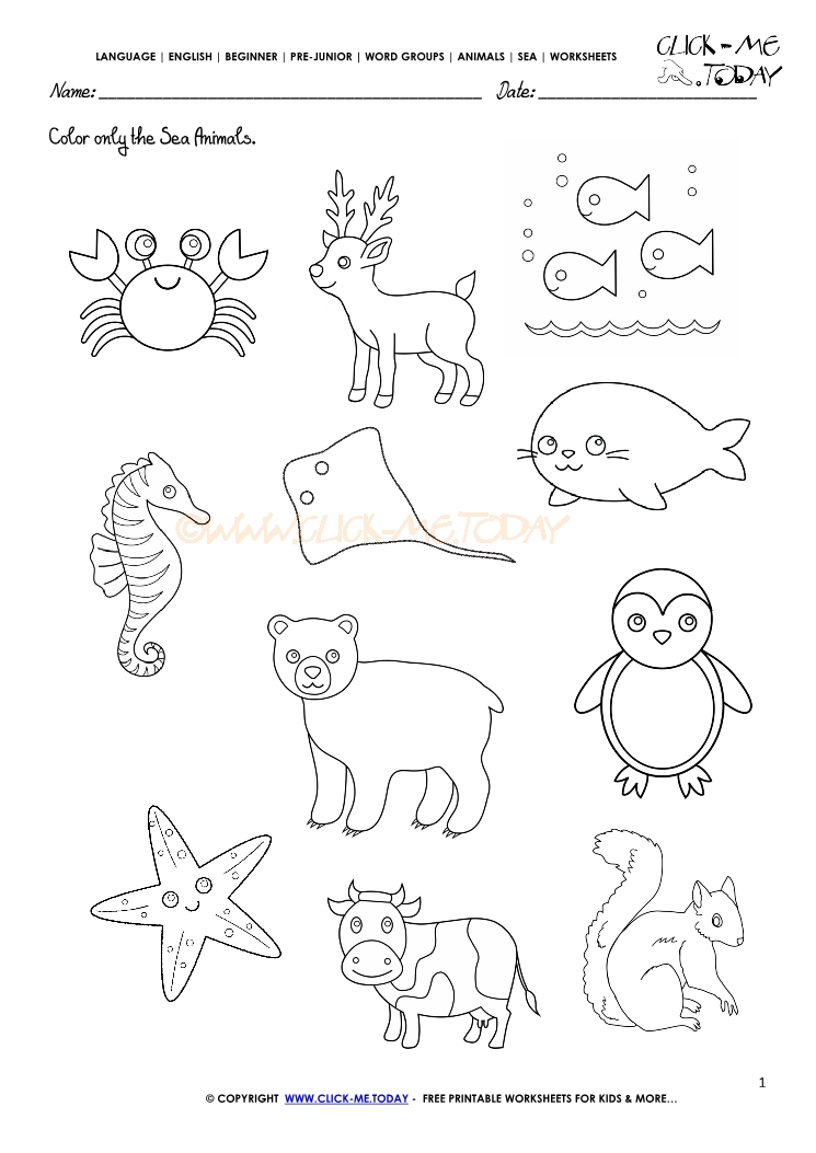 Ocean Animals For Kids Worksheets