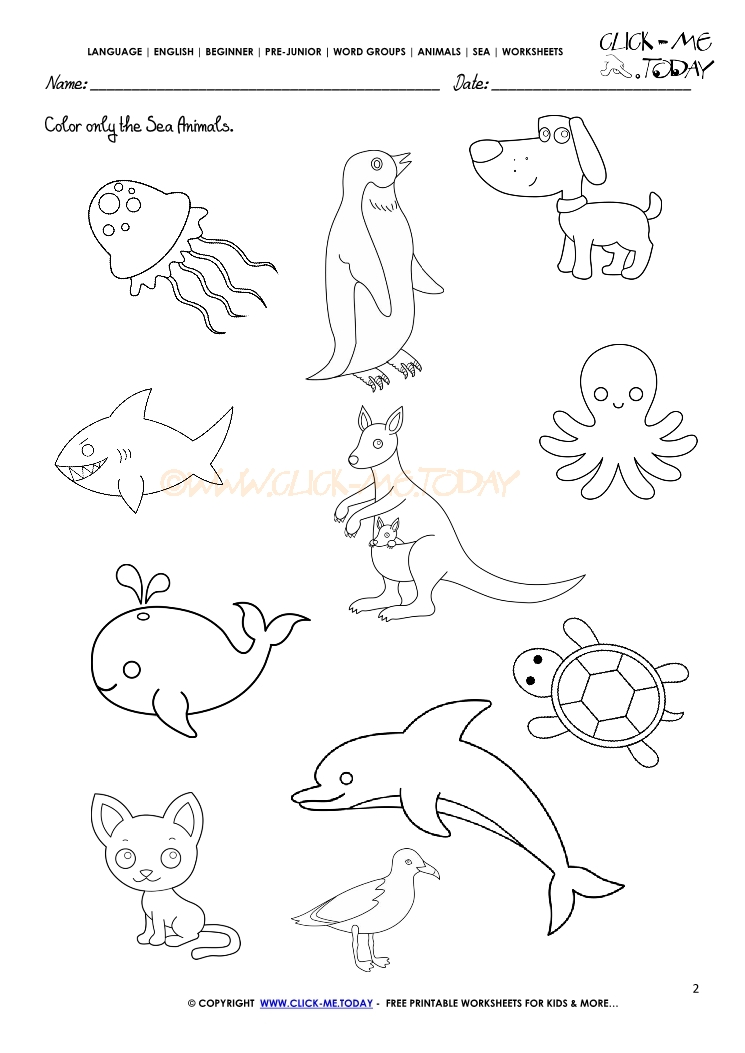 Sea Animals Worksheets For Kids Sketch Coloring Page