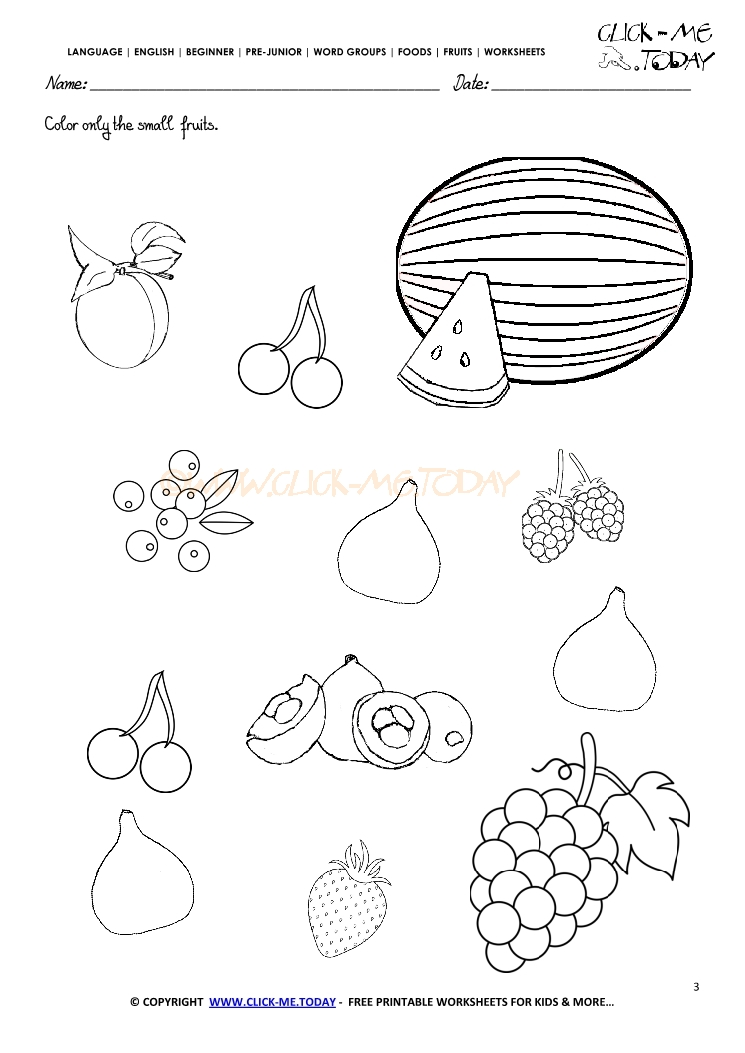 Fruits Worksheet 3 Color Only The Small Fruits