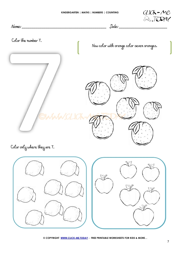 COUNTING WORKSHEET 7