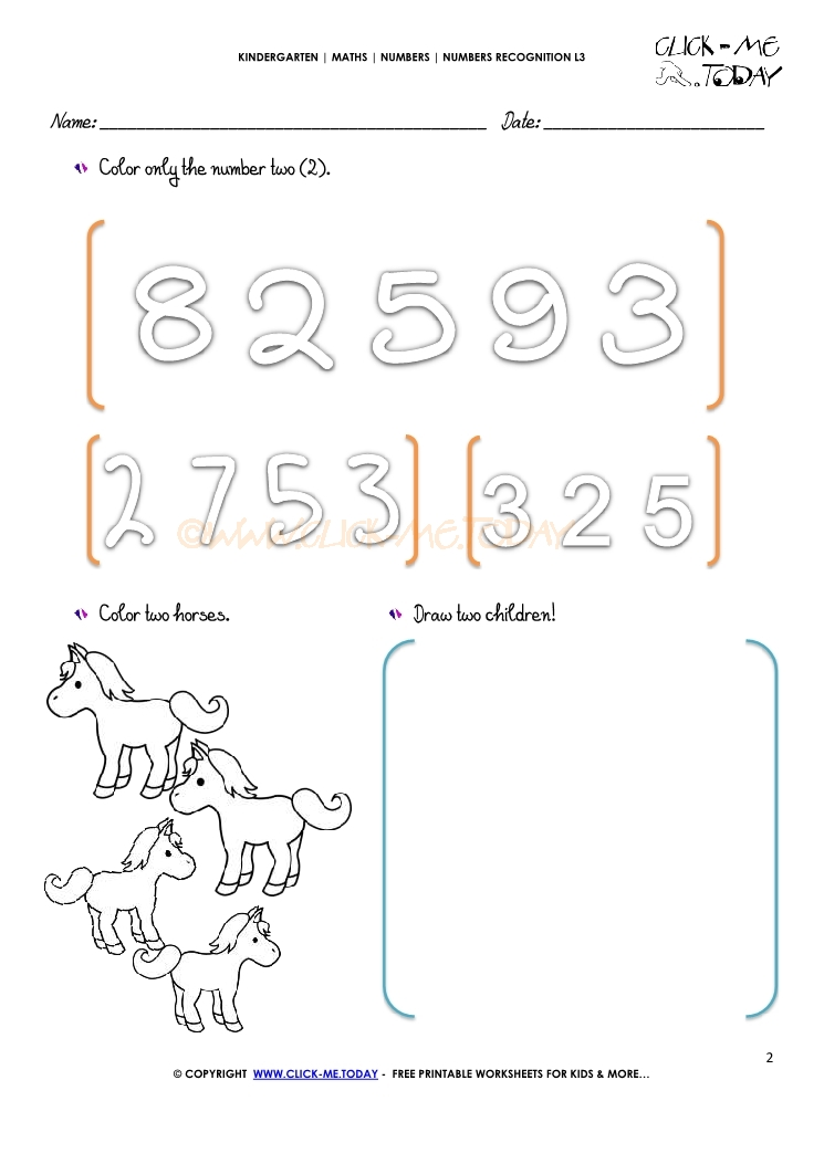 NUMBERS RECOGNITION WORKSHEETS L3 2