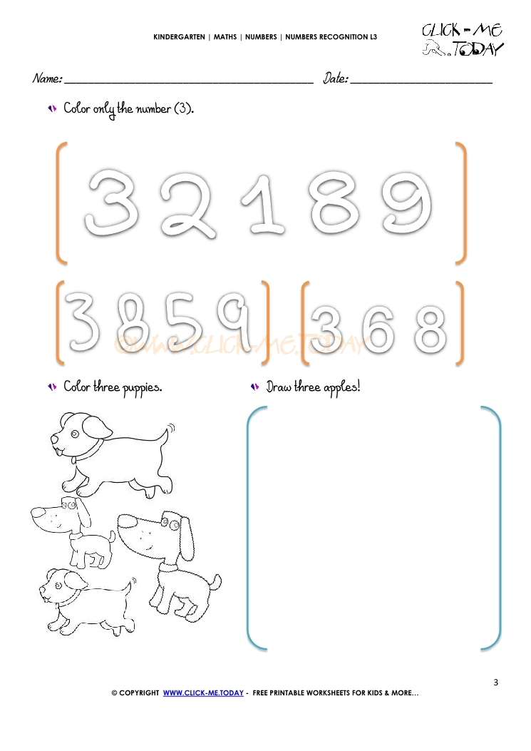 NUMBERS RECOGNITION WORKSHEETS L3 3