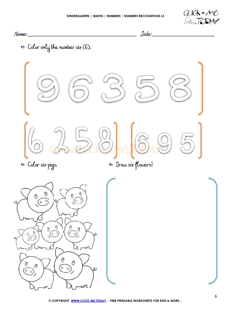 NUMBERS RECOGNITION WORKSHEETS L3 6