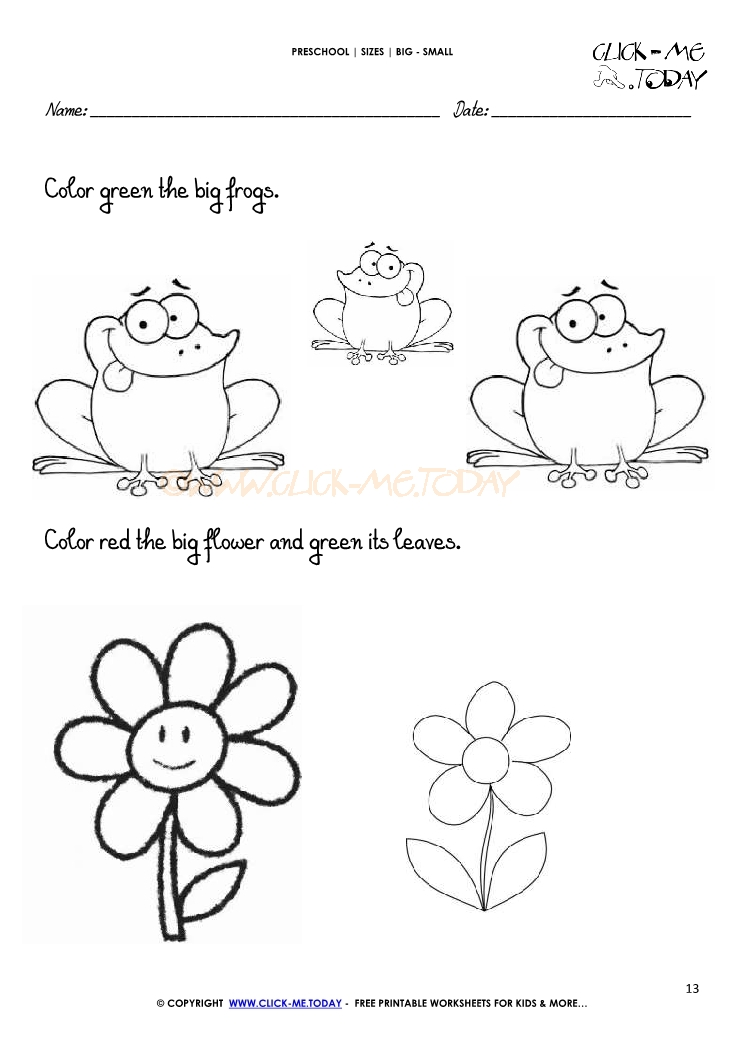 Free Preschool Big Small Worksheets Printables. Free. Best