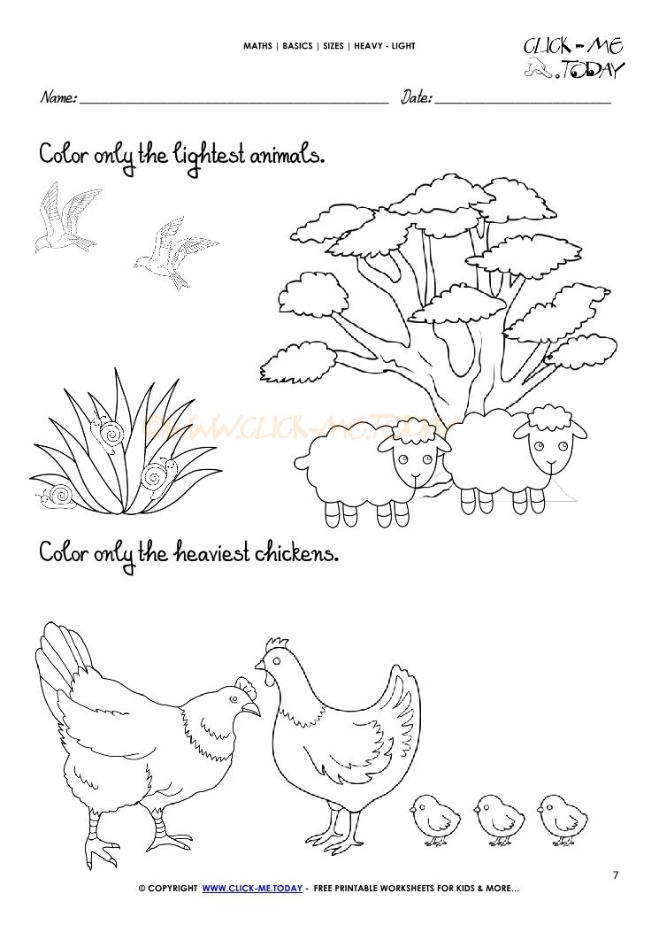 Concept Heavy Light Worksheet For Preschool. Concept. Best