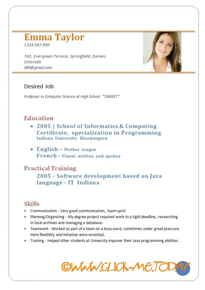 Simple Resume Sample Doc - Resume Sample