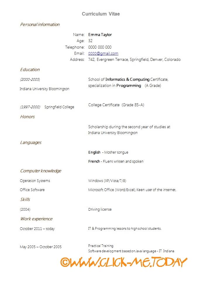 SIMPLE CV NEW GRADUATES CV TEMPLATE DOC