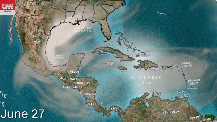 The much-anticipated Saharan dust plume is now making its more than 5,000-mile trek across the Atlantic to the United States.