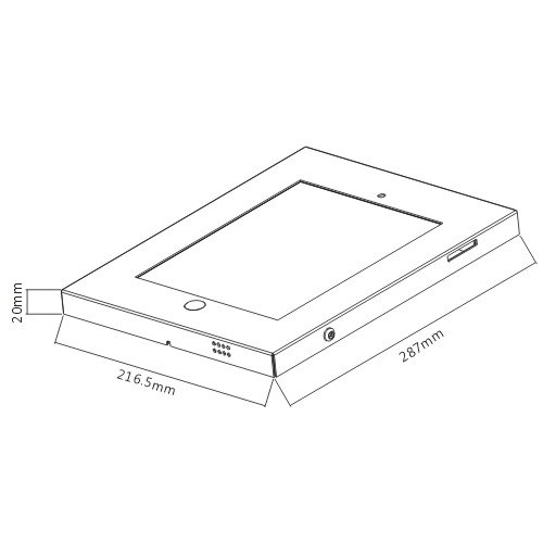White Secure Metal Wall Mount Enclosure for iPad 9.7 inch