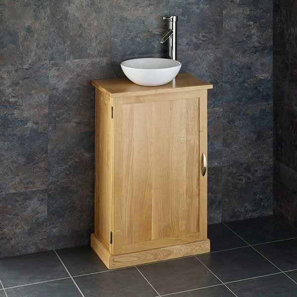 Narrow Depth Solid Oak Cube Bathroom Vanity With Gela Basin