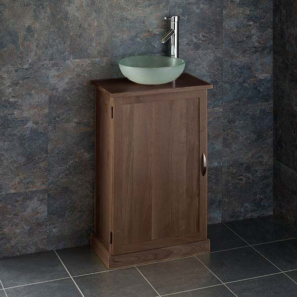 narrow dark oak bathroom vanity unit with 310mm round frosted glass sink tap waste