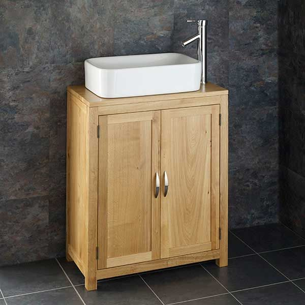 narrow oak storage unit plus rounded rectangular basin set with tap and waste