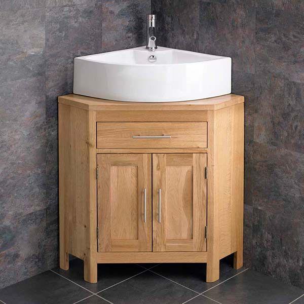 large double door corner oak vanity unit corner sink plus tap and waste alta