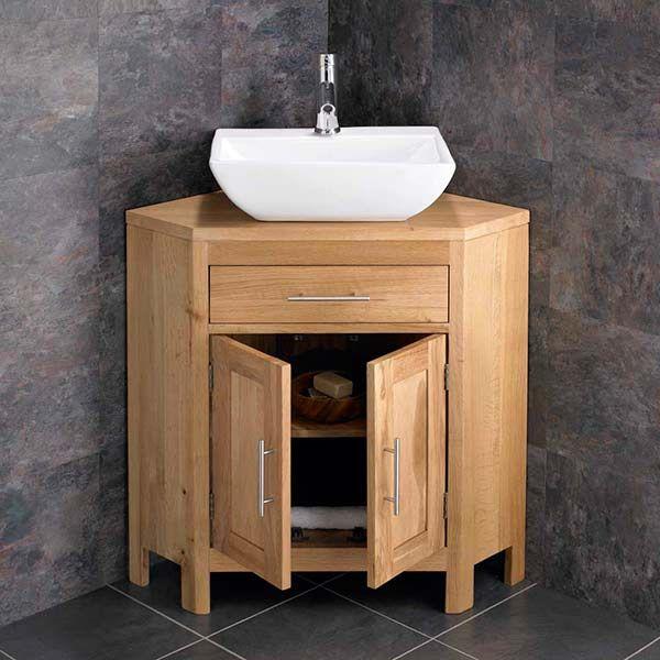 Alta Corner Oak Double Door Bathroom Vanity Unit And 450mm Massa Basin