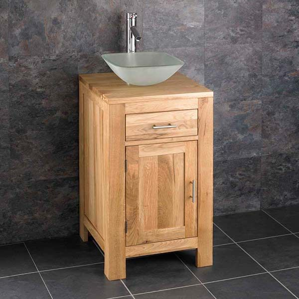 Alta 450mm Square Solid Oak Bathroom Vanity Cabinet And Glass Sink