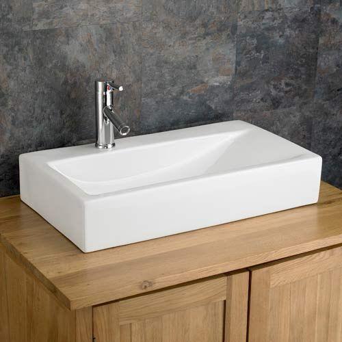 large countertop bathroom basin sloped rectanglar in white ceramic 670mm x 380mm altomura
