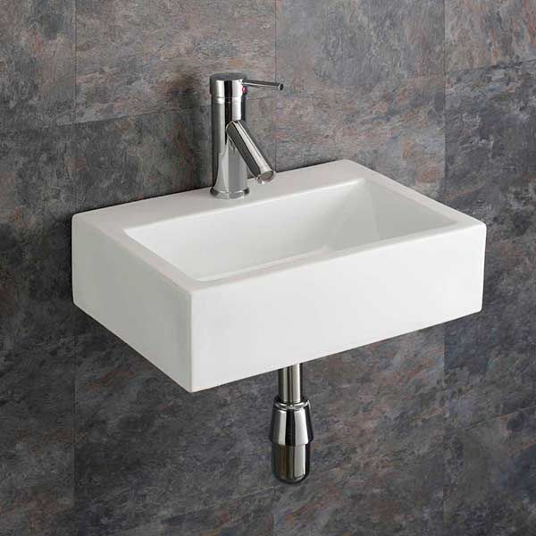 rectangular wall hung bathroom basin in white ceramic 430mm x 325mm barletta sink