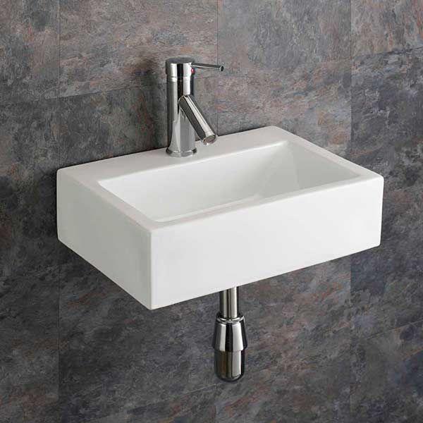 Rectangular Ceramic Barletta Wall Mounted Bathroom Basin 430mm X 325mm
