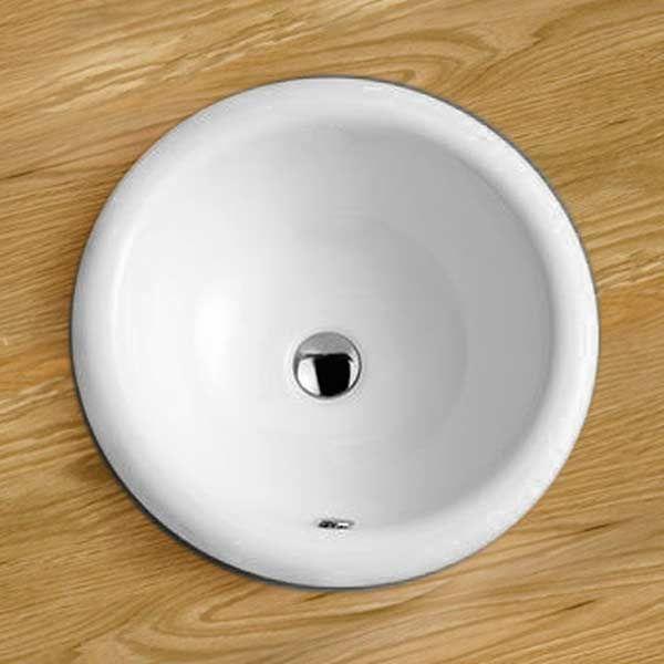round inset bathroom sink self rimming in white ceramic large basin 420mm diameter como