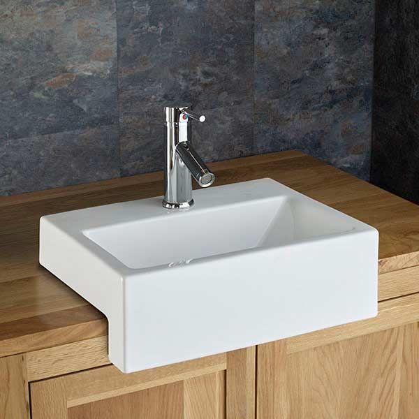 semi recessed bathroom basin rectangular in white ceramic 430mm x 330mm sink anadia