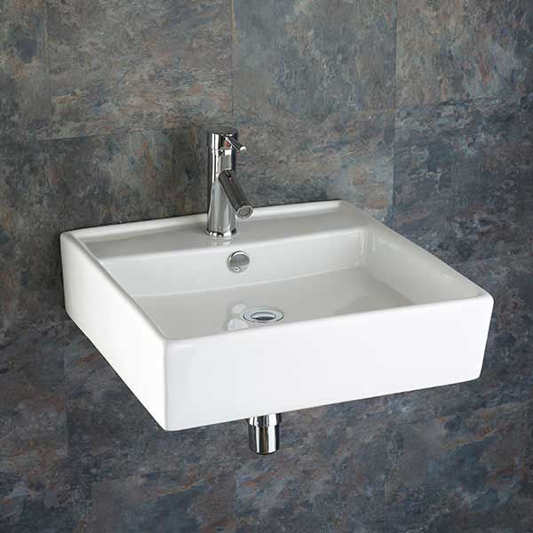 large wall hung bathroom basin square in white ceramic 510mm square sink arsizio