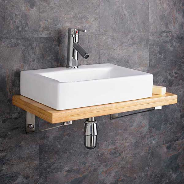 wall hung wooden shelf bathroom basin bundle with rectangular sink set inc bottle trap potenza