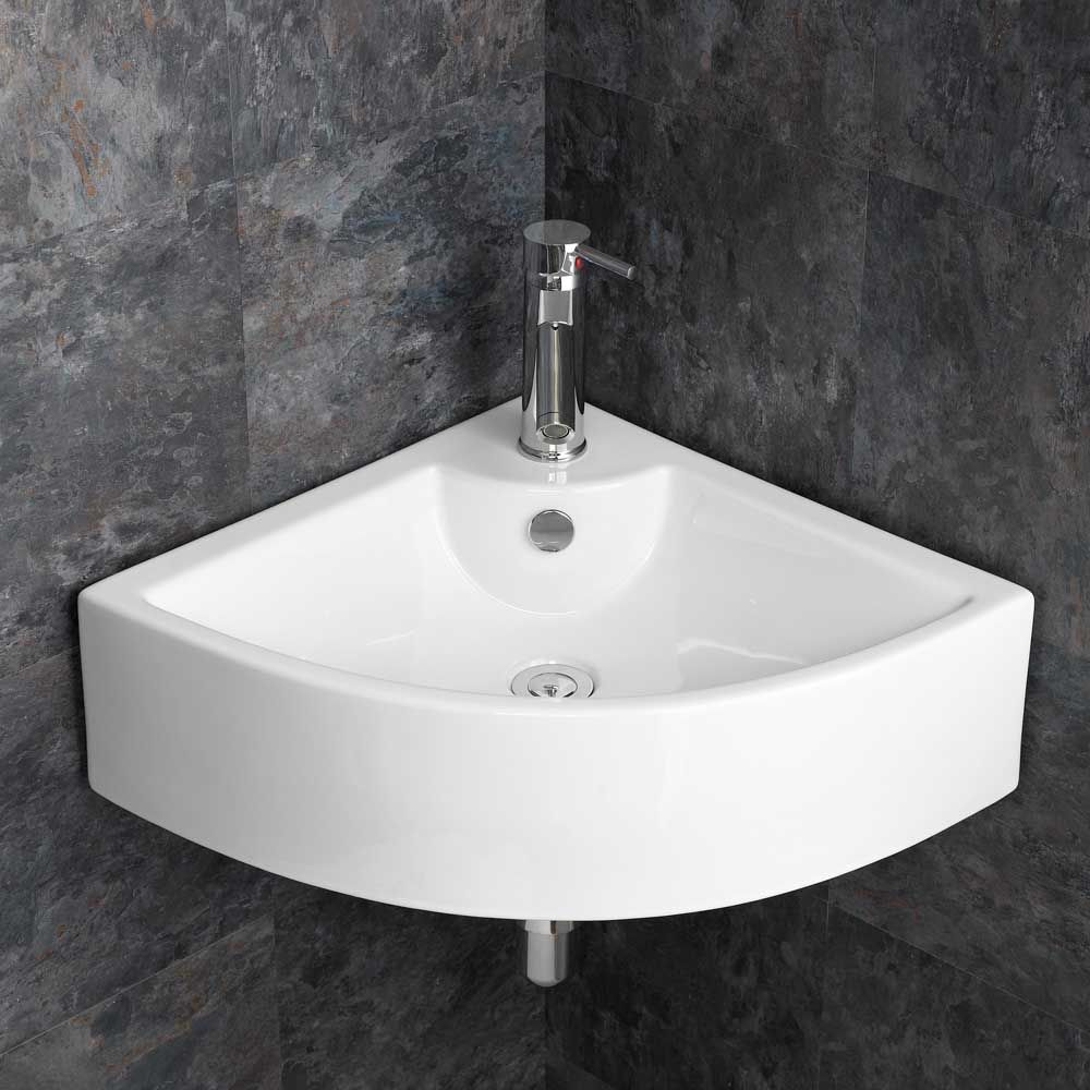 Modern Large 660mm Prato Corner Bathroom Wash Basin Wall Mounted Sink
