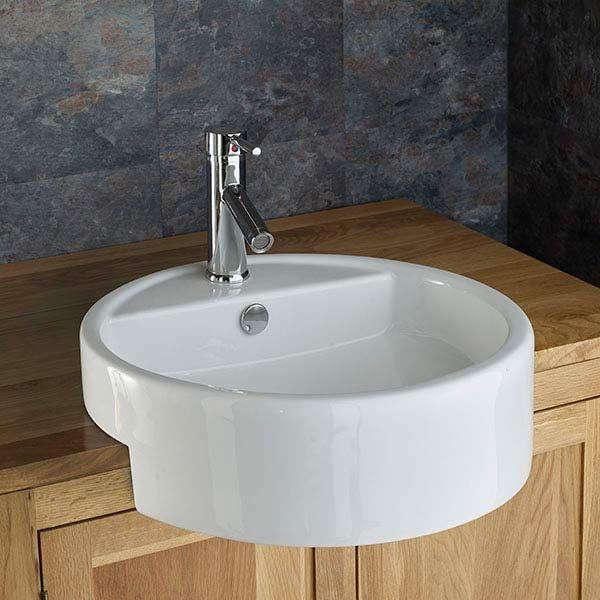 large semi recessed bathroom basin round in white ceramic 480mm diameter sink vitoria