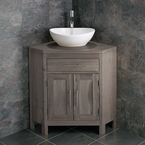 Large Bathroom Grey Wash Solid Oak Corner Bathroom Vanity Cabinet Oval Basin Set Altalg