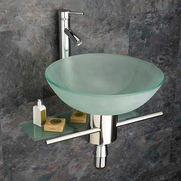 round bathroom basin in frosted glass 420mm diameter with wall mounted stainless chrome shelf and tap bundle padova